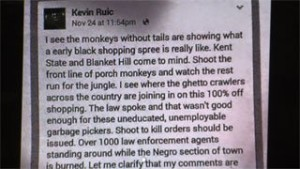 Mansfield Lessor Kevin Ruic racist posts on Facebook