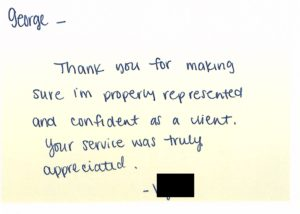 Letter received from a client
